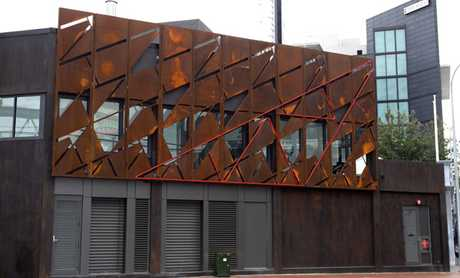 The new artwork on the Sturdee Street facade of Auckland&#39;s renovated iconic Tepid Baths, called &quot;Memories of the Trusses&quot;.  
