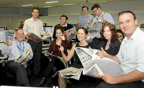 Chronicle editor-in-chief Steve Etwell (left) and editorial staff (back, from left) Stuart Cumming, John Farmer, Chris Calcino, Tim Braban and (front, from left) Kiara O'Gorman, Laura Hunt, Kate Dodd, Lacey Burley and Adam Davies were all smiles when the latest readership figures were released.
