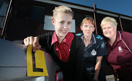 DRIVE SUPPORT: Danielle Nowell, 17, Rachel Whitford and Karen Leatherbarrow are part of the Braking the Cycle program.