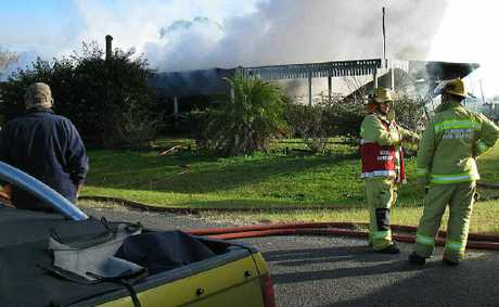 A fire at a property at Noonans Lane in Peak Crossing on Wednesday morning.