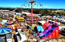 The view of Mackay showgrounds and the city beyond from the Ferris wheel.
