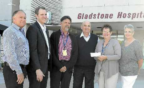 Gladstone Midday Rotary Club hand over a cheque for $6000 to the Gladstone Hospital auxiliary group. (L-R) David Grant (David Grant Car Sales), James Robertson (Gladstone Toyota), Rod Brennan (Gladstone Hospital), Jeff Osborne (Gladstone Midday Rotary), Kerry Rose and Jenny McLeod (Gladstone Hospital Auxiliary Club).