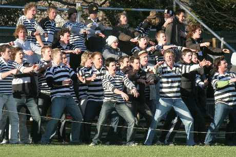 GRUDGE MATCH: Students at a previous Christ's College against Christchurch Boys' High School rugby match.