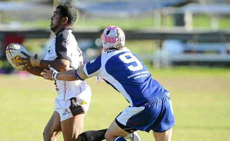 Lower Clarence Magpies captain-coach Grant Brown in action against the Grafton Ghosts earlier this year.