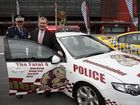Police Commissioner Bob Atkinson and Police Minister Jack Dempsey launch the 2012 QPS State of Origin car at Suncorp Stadium.