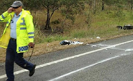 Police investigate the crash in which a motorcyclist died after a collision with a truck 10km south of Carmila yesterday morning.