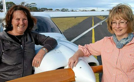 Avid aviators Denise Harslett from Stanthorpe and Gwen Tyburczy from Hendon are enjoying the freedom of being able to fly.