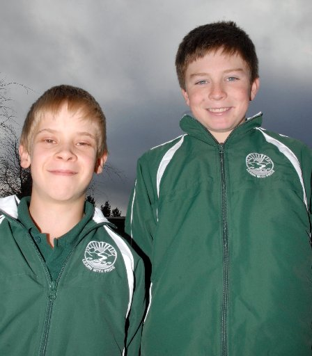 STANDING TALL: Whareama School pupils Logan Taylor (left) 11, and Jacques Le Grove, 12, contested the grand finals of the Rotary Wairarapa Primary School Year 7 and 8 Speech Competition. PHOTO/NATHAN CROMBIE