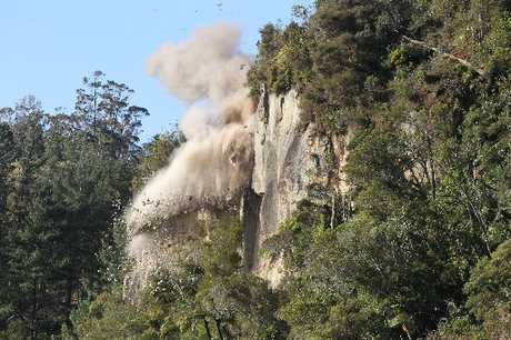 Contractors blasted the rockface near the Ruahihi power station in June.
