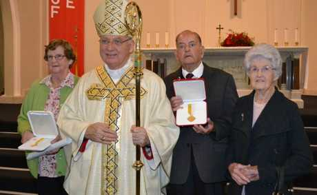 Bishop of Lismore the Most Reverend Geoffrey Jarrett D D, Marie Twohill, John McDonald and his wife Mary following presentation of their Papal awards.