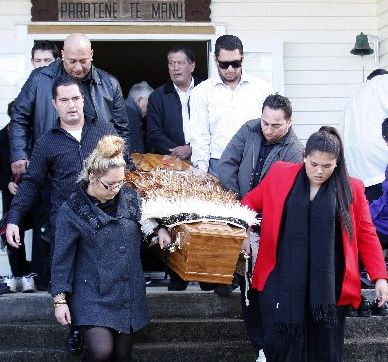 Bill Pitman is carried from the Ngunguru Marae by his grandchildren Raymond Brown (top left), William Pitman and Tui Brown; Rodney Brown (top right), Tom Brown, Ari Pitman.