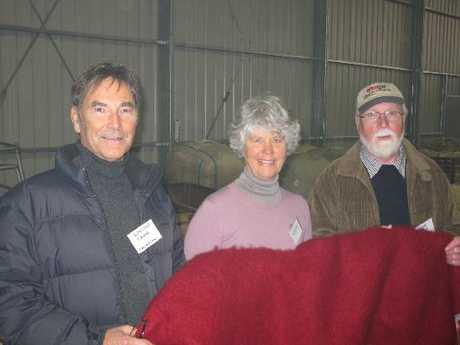 New Zealand mohair industry leaders Ian Kelly from Design Spun in Napier, Mohair Pacific's Pam Sundstrum and Lindsay Cairns from Masterweave in Masterton shared their experience at the field day.