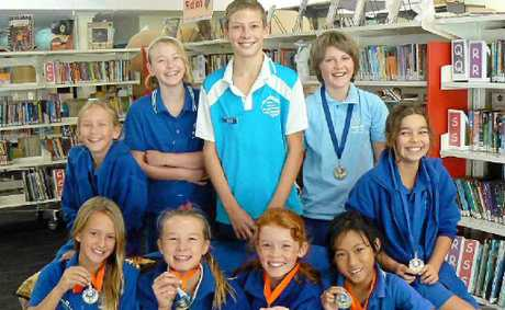 The winning team of Bridget Godfrey, Tai Branco, Zane Branco, Flynn Lethlean, Morgan Petit-Granger, front, Darcy Potter, Kalia White, Maddy Wilson and Jessica Ao. (Absent: Alan Manuel).
