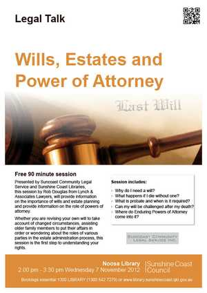 Free 90 minute session - Presented by Suncoast Community Legal Service and Sunshine Coast Libraries, this session by Rob Douglas from Lynch & Associates Lawyers