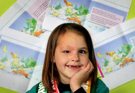 Zahnee Campbell-Riley (6) pictured at home in Papamoa with draft pages from the book she has written.