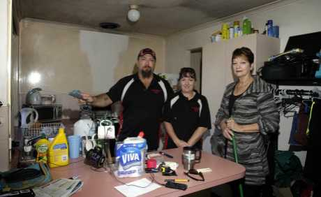Tony and Jennee Fiechtner from Cleaning Bug and Gail Torrens from Caboolture Family Haven. Photo Vicki Wood / Caboolture News