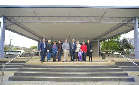 Local dignitaries tour the new stage on the eastern side of Market Square, Grafton.