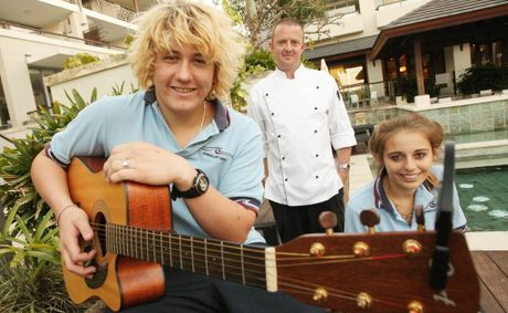 Students Tom Martin and Eliza Klatt, with Bamboo head chef Craig Robertson. The pair have been playing at the restaurant to liven things up and get experience.