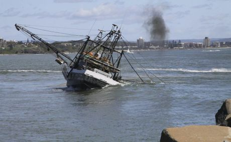 The trawler Night Raider became stuck at the mouth of the Mooloolah River on April 22.