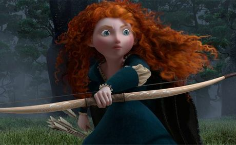The character Merida (voice by Kelly Macdonald) from the movie Brave.