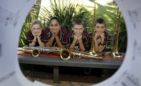 Banksia Beach state School Big Band members McKenzie Brady, Tenika Patel, Brock Long and Logan Keirnan. Photo Vicki Wood / Caboolture News