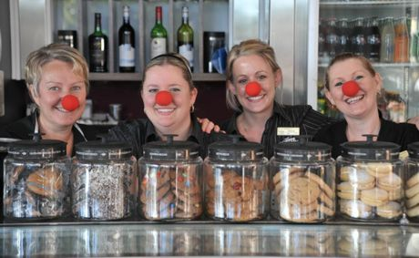 Staff from the Coffee Club at Kawana Shoppingworld (L-R) Melissa Ambrose, Michelle Lonergan, Megan Barker and Melanie McDonald will be embracing Red Nose Day on June 29.