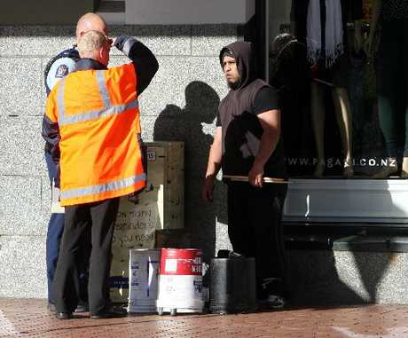MARCHED OFF: Jason Osborne, a drum-playing busker, was moved on after outstaying his welcome on Heretaunga St. PHOTO/GLENN TAYLOR HBT122730-02