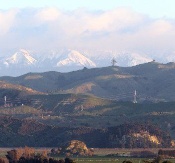 KAWEKAS: The snow-capped Kaweka Range, looking west from Hospital Hill in Napier. HBT122754-02
