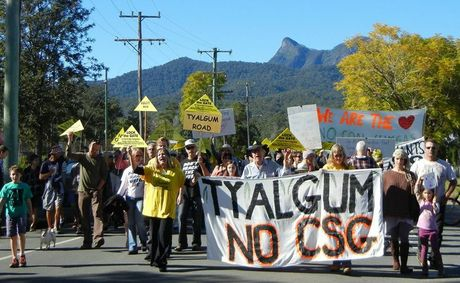 About 130 people joined the rally against coal-seam gas mining at Tyalgum on Saturday.