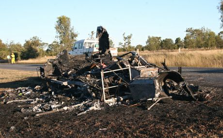 BURNT TO THE GROUND: A caravan has been badly damaged along the Burnett Highway, outside Thangool, after it caught fire earlier today.  