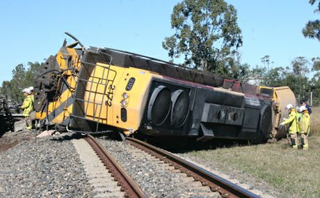 LUCKY ESCAPE: The drivers of this train and a semi-trailer escaped serious injury after colliding near Biloela
