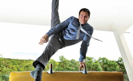 Olympian Brennon Dowrick performs gymnastics routines for his audience when public speaking.