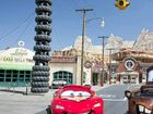 Lightning McQueen and Mater greet park guests daily outside the Cozy Cone Motel on Route 66.