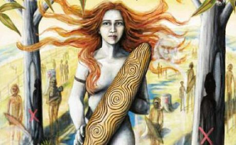 Defending Country is a deeply personal and provocative work depicting a pale-skinned, blue-eyed woman holding a shield against the backdrop of the land and its ancestors.