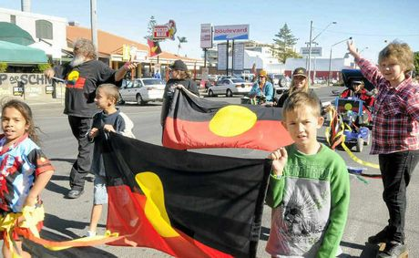 CELEBRATING CULTURE: At the NAIDOC Week march in Ballina on Monday, children take their place in the celebrations.