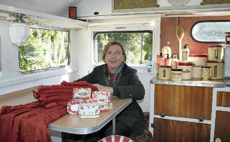 Bev Tainsh from Magella Rose prepares her funky 50s caravan for the 4WD Caravan Camping and Marine Show in Lismore this weekend.