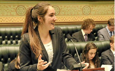 YOUNG MP: Youth parliamentarian Alice Fleetwood in action in Sydney