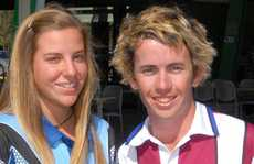 Young bowlers Natalie Noronha, of NSW, and Queenslander Rohan Wilson.