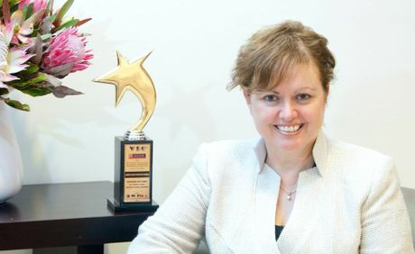 SUPER ACHIEVER: USQ Vice-Chancellor Professor Jan Thomas with her international award.