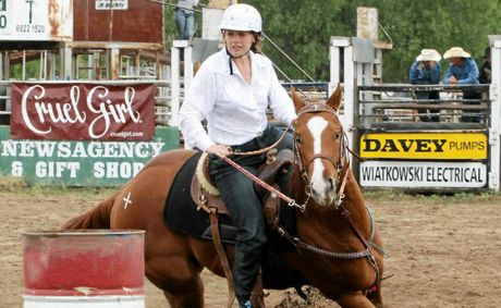 Meg Stewart competes in the barrel racing at the Australian Student Rodeo Competition.