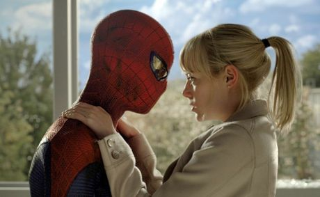 Andrew Garfield (left, as Spider-Man) and Emma Stone in a scene from the movie, The Amazing Spider-Man.