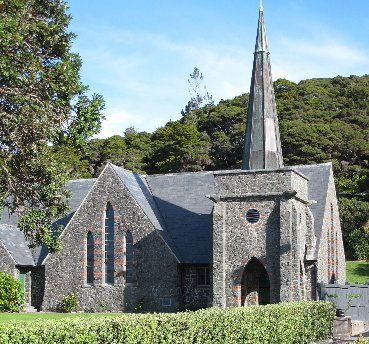 St Paul's Church - often known simply as the Stone Church - is at the centre of Paihia's Heritage Area. Photo / Peter de Graaf