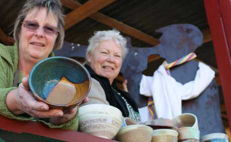 Warwick Potters' Association has made 200 bowls for the soup night during the Jumpers and Jazz in July Festival. Wendy Beaver and Raye Batham show off some of the designs.