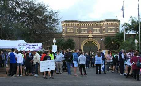 Grafton Gaol Picket line - community come out in support of job losses: The crowd keep building late into the afternoon. Photo Lynne Mowbray / Daily Examiner