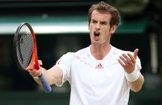 Andy Murray of Great Britain reacts during his Singles final match against Roger Federer of Switzerland on day 13 of the Wimbledon Lawn Tennis Championships at the All England Lawn Tennis and Croquet Club on July 8, 2012 in London, England.