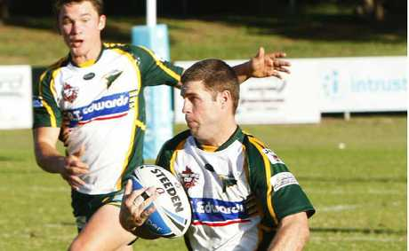 "Ipswich Jets centre Luke Walker with hat-trick hero Jarrod ""Eagle"" McInally in support on the way to Ipswich's 24-10 Queensland Cup win over Tweed Heads on Saturday."