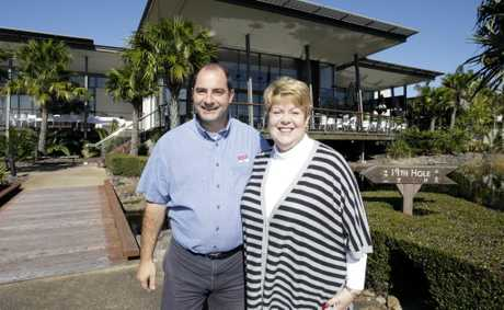 Commerce Caboolture president Stefan Boni and Bribie Island Chamber of Commerce president Rhonda Cockinos join together for the end of the financial year. Photo Vicki Wood / Caboolture News