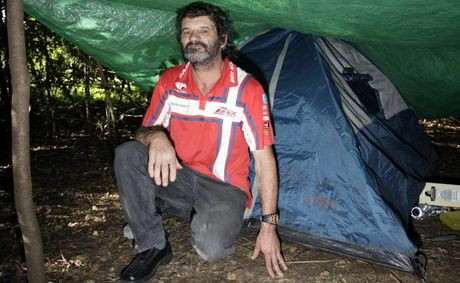 Vinnie camps in Caboolture with his tent and under the tarp to get away from the cold. Photo Vicki Wood / Caboolture News