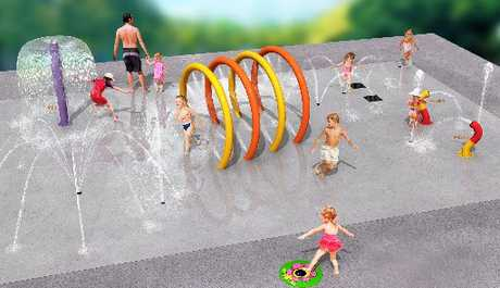 A concept design shows the type of splash pad which will be built at Flaxmere Park, as part of its redevelopment by the Hastings District Council. Photo / Supplied