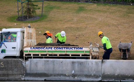 Workers lay turf at the Banora Point Upgrade site.